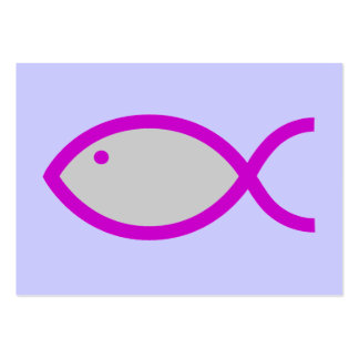 Christian Fish Symbol - LOUD! Grey with Pink Pack Of Chubby Business Cards