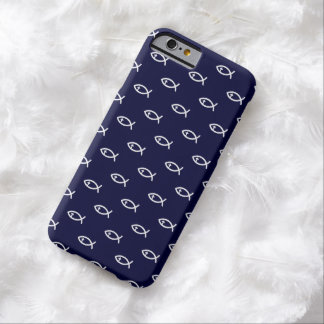Christian Fish Symbol Pattern on blue background Barely There iPhone 6 Case