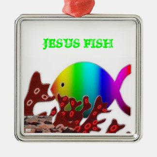 Christian Fish Symbol - Rainbow Ocean Square Metal Christmas Ornament
