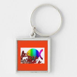 Christian Fish Symbol - Rainbow Ocean Silver-Colored Square Key Ring
