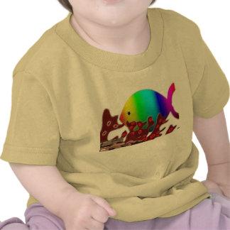 Christian Fish Symbol - Rainbow Ocean T Shirts