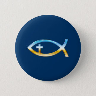 Christian Fish Symbol with Crucifix - Sky & Ground 6 Cm Round Badge