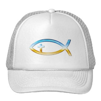 Christian Fish Symbol with Crucifix - Sky & Ground Cap