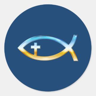 Christian Fish Symbol with Crucifix - Sky & Ground Round Sticker