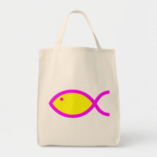 Christian Fish Symbol - Yellow with Pink Grocery Tote Bag
