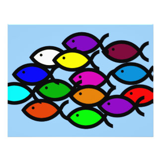 Christian Fish Symbols - Rainbow School - 21.5 Cm X 28 Cm Flyer