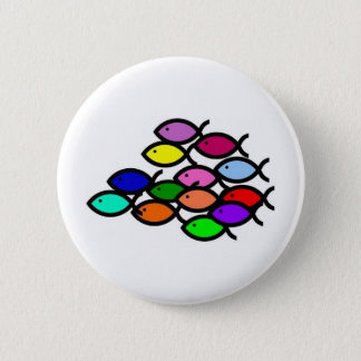Christian Fish Symbols - Rainbow School - 6 Cm Round Badge