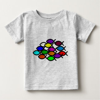 Christian Fish Symbols - Rainbow School - Baby T-Shirt