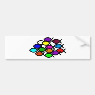 Christian Fish Symbols - Rainbow School - Car Bumper Sticker
