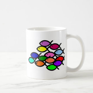 Christian Fish Symbols - Rainbow School - Coffee Mug