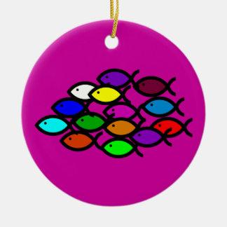 Christian Fish Symbols - Rainbow School - Double-Sided Ceramic Round Christmas Ornament