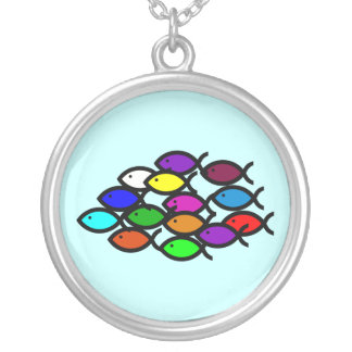 Christian Fish Symbols - Rainbow School - Silver Plated Necklace