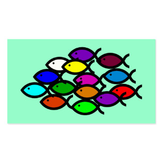 Christian Fish Symbols -Rainbow School Tract Cards Business Cards