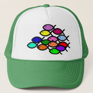 Christian Fish Symbols - Rainbow School - Trucker Hat