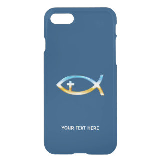 Christian Fish with cross Symbol blue background iPhone 8/7 Case