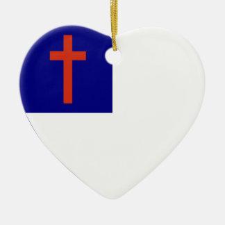 Christian Flag Heart Ceramic Heart Decoration
