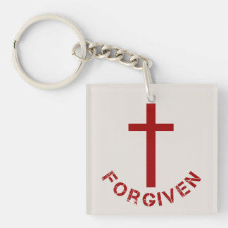 Christian Forgiven Red Cross and Text Design Double-Sided Square Acrylic Key Ring