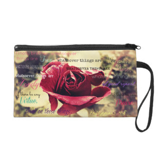 Christian girl, Red Rose, Philippians 4:8 Wristlet Clutches