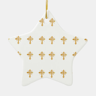 Christian Gold Cross Ceramic Star Decoration