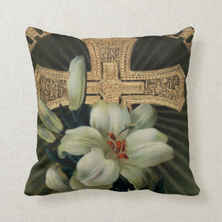 Christian Gold Cross Easter Lily Cushion