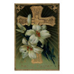 Christian Gold Cross Easter Lily Poster