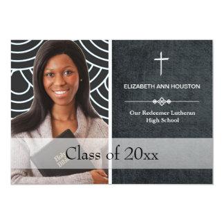 "Christian Graduation Photo Announcement Black 5"" X 7"" Invitation Card"