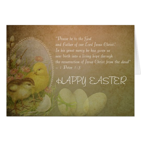 Christian Happy Easter Bible Verse Chickens Card