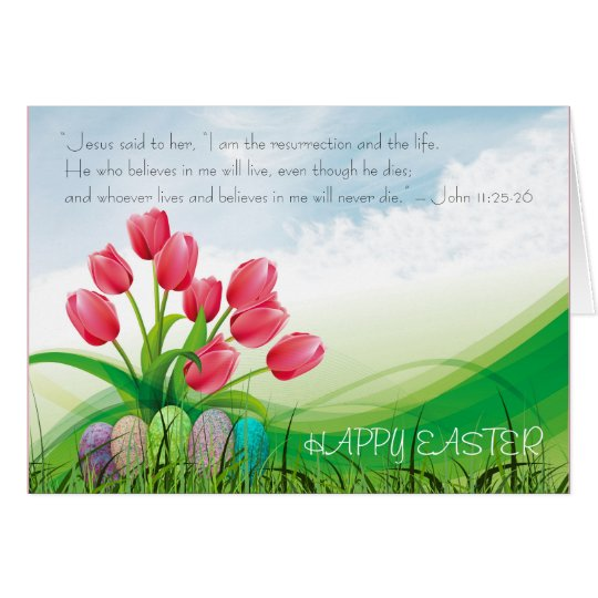 Christian Happy Easter Bible Verse Tulips & Clouds