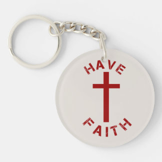 Christian Have Faith Red Cross and Text Design Double-Sided Round Acrylic Key Ring