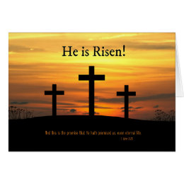 Christian easter gifts gift ideas zazzle uk christian he is risen easter celebration w cross card negle Images