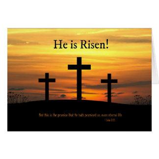 Christian He is Risen Easter Celebration w/ Cross Greeting Card