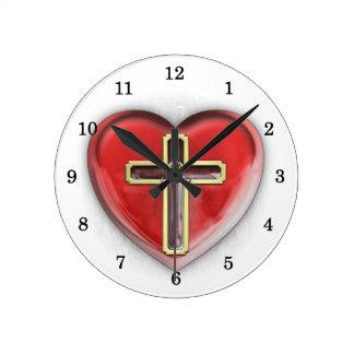 Christian Heart Round Clock