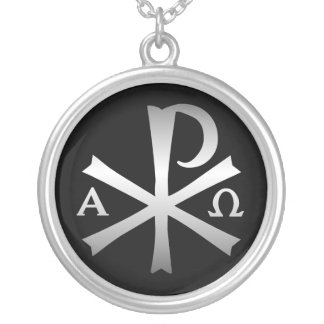 Christian Icon Labarum with Alpha and Omega Silver Plated Necklace