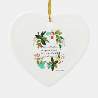 Christian inspirational Art - Proverbs 19:21 Ceramic Heart Decoration
