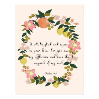 Christian inspirational Art - Psalm 31:7 Postcard