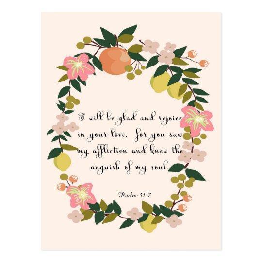 Christian inspirational Art - Psalm 31:7 Postcard