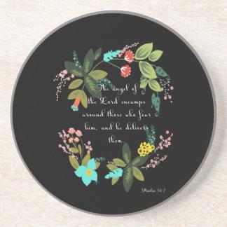 Christian inspirational Art - Psalm 34:7 Sandstone Coaster