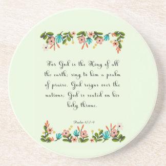 Christian inspirational Art - Psalm 47: 7-9 Beverage Coaster