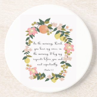 Christian inspirational Art - Psalm 5:3 Beverage Coasters
