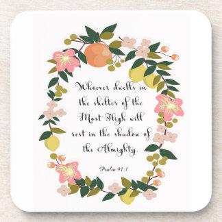 Christian inspirational Art - Psalm 91:1 Drink Coasters