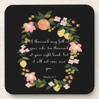 Christian inspirational Art - Psalm 91:7 Beverage Coasters