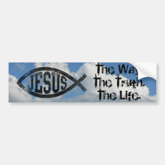 Christian Jesus Fish, Black Ichthys Bumper Sticker