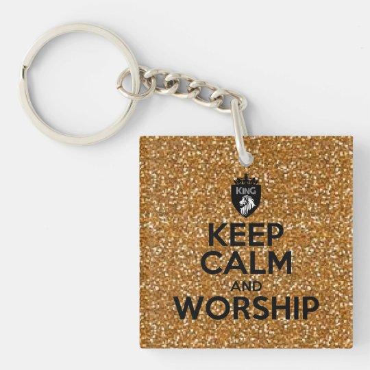 Christian Keep Calm and Worship Gold Glitter Key