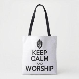 Christian KEEP CALM AND WORSHIP Tote Bag
