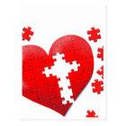 Christian love heart jigsaw puzzle postcard
