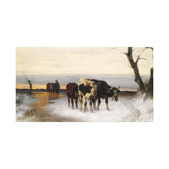 Christian Mali Driving the Herd Winter Landscape Canvas