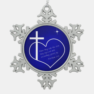 Christian Merry Christmas blue Snowflake Pewter Christmas Ornament