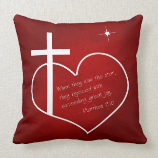 Christian Merry Christmas red and blue Cushion