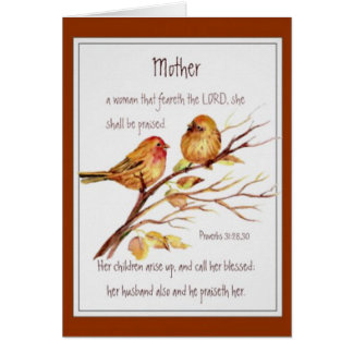 Christian Mother's Day Scripture Watercolor Greeting Card