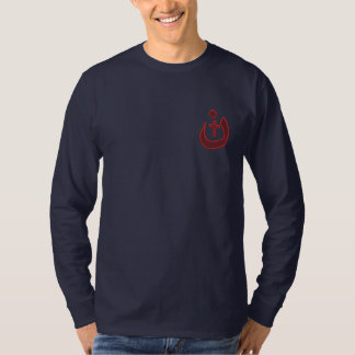 Christian Nazarene Symbol Cross Solidarity Embroidered Long Sleeve T-Shirt